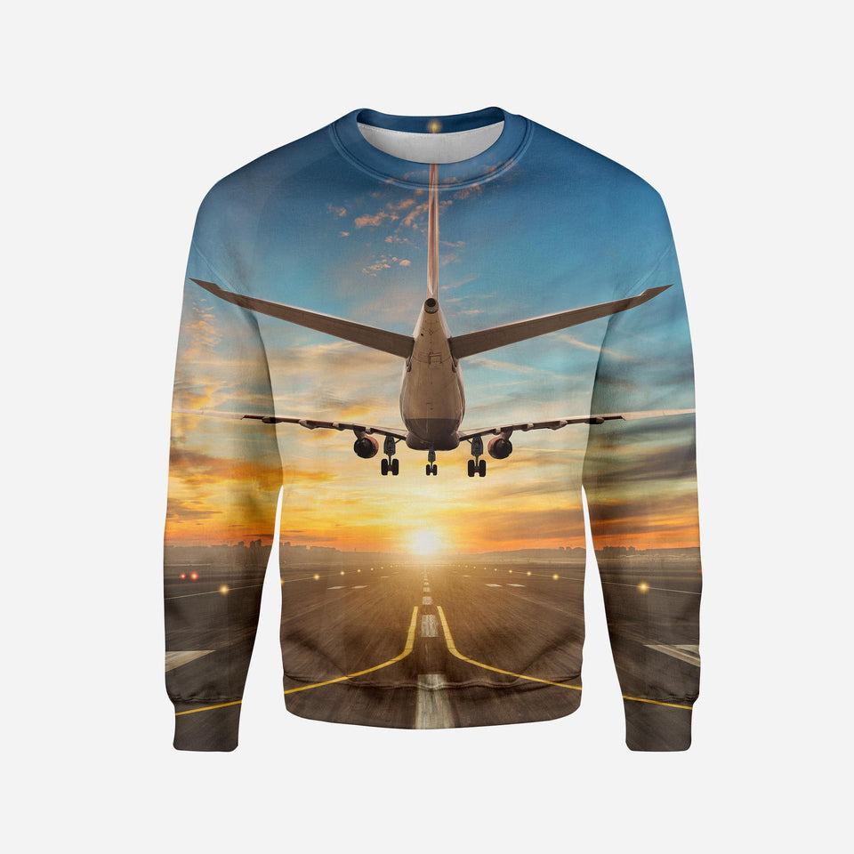 Airplane over Runway Towards the Sunrise Printed 3D Sweatshirts