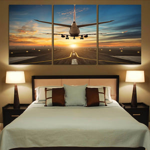 Airplane over Runway Towards the Sunrise Printed Printed Canvas Posters (3 Pieces) Aviation Shop