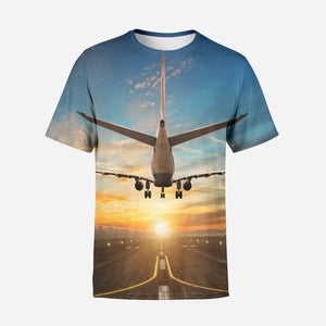 Airplane over Runway Towards the Sunrise Printed T-Shirts