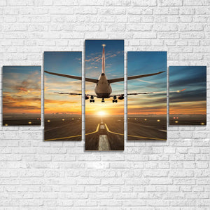 Airplane over Runway Towards the Sunrise Printed Multiple Canvas Poster Aviation Shop