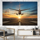 Airplane over Runway Towards the Sunrise Printed Printed Canvas Posters (1 Piece) Aviation Shop