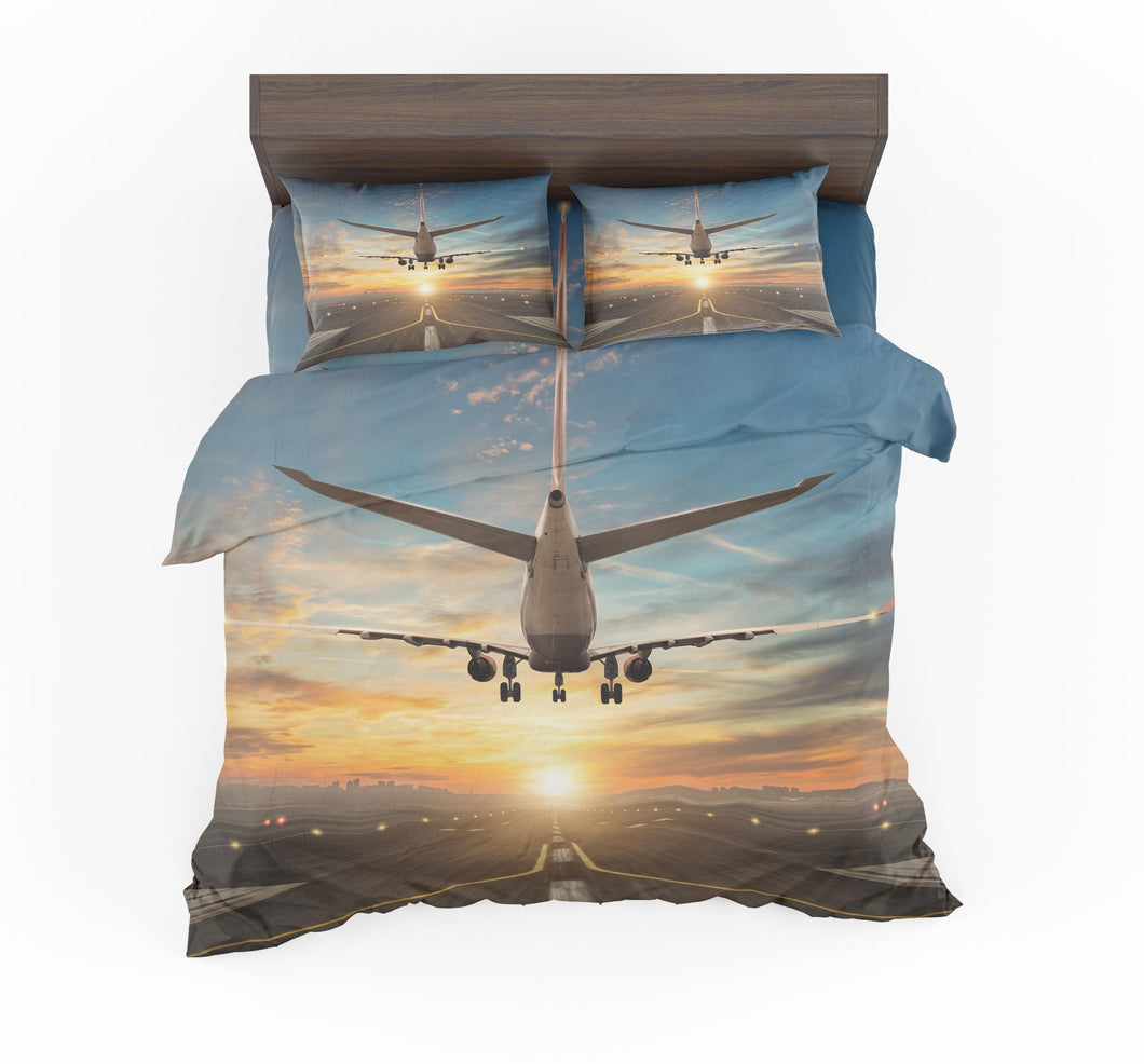 Airplane over Runway Towards the Sunrise Designed Bedding Sets