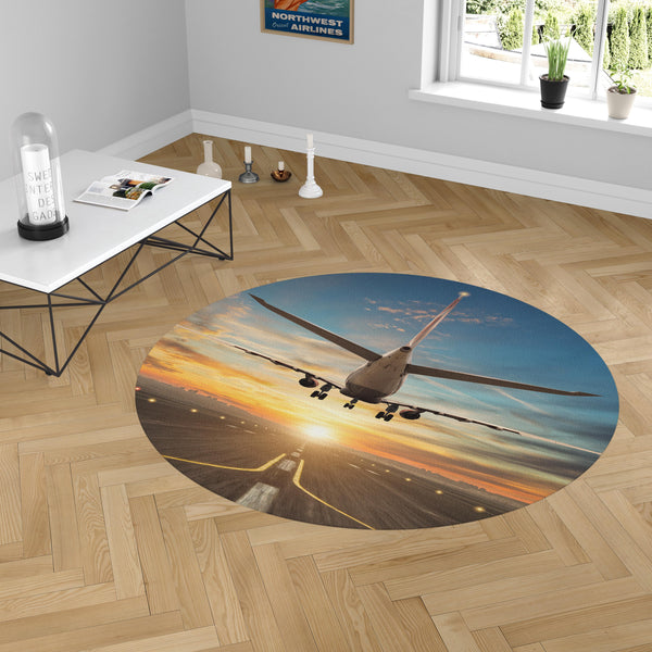 Airplane over Runway Towards the Sunrise Designed Carpet & Floor Mats (Round)