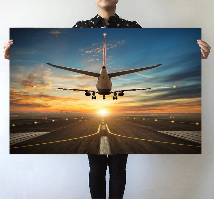 Airplane over Runway Towards the Sunrise Printed Posters Aviation Shop