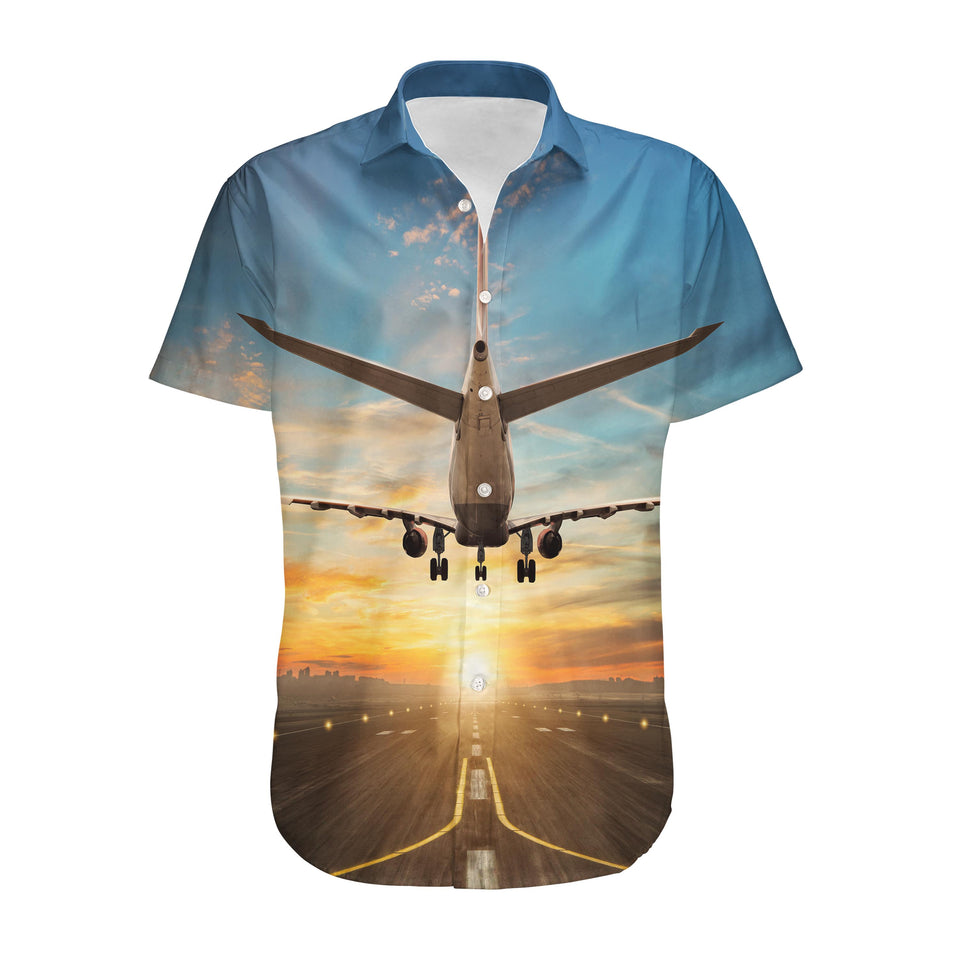 Airplane over Runway Towards the Sunrise Designed 3D Shirts