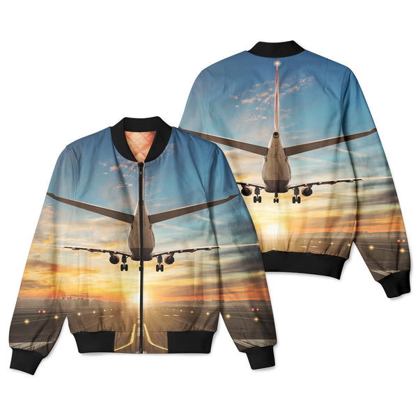 Airplane over Runway Towards the Sunrise Designed 3D Pilot Bomber Jackets