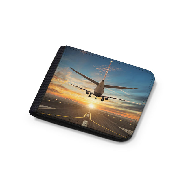 Airplane over Runway Towards the Sunrise Designed Wallets