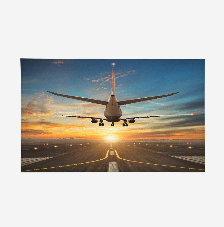 Airplane over Runway Towards the Sunrise Designed Door Mats