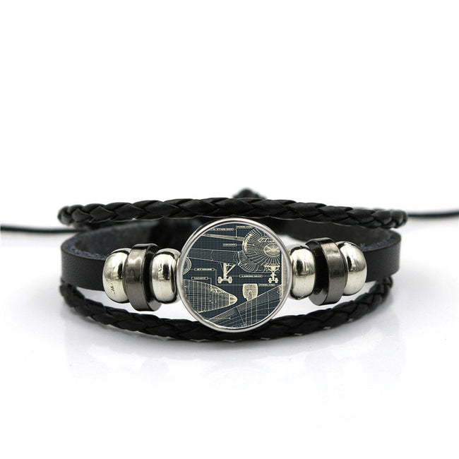 Airplanes Fuselage & Details Designed Leather Bracelets