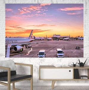 Airport Photo During Sunset Printed Canvas Posters (1 Piece) Aviation Shop