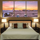 Airport Photo During Sunset Printed Canvas Posters (3 Pieces)