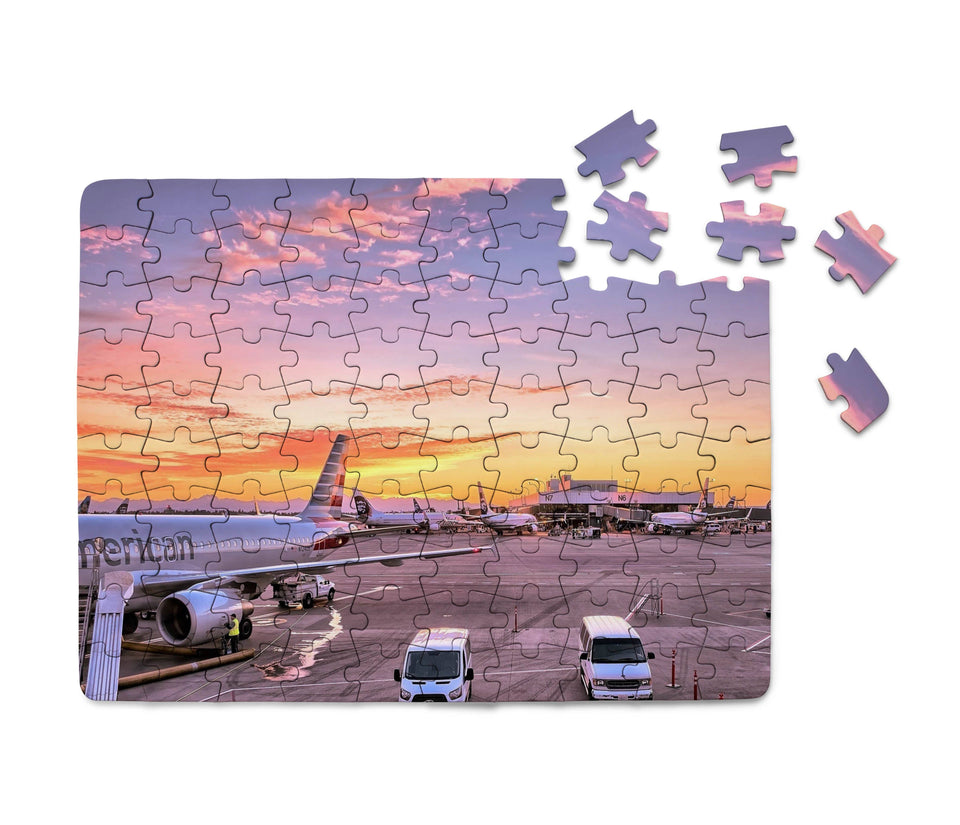 Airport Photo During Sunset Printed Puzzles Aviation Shop