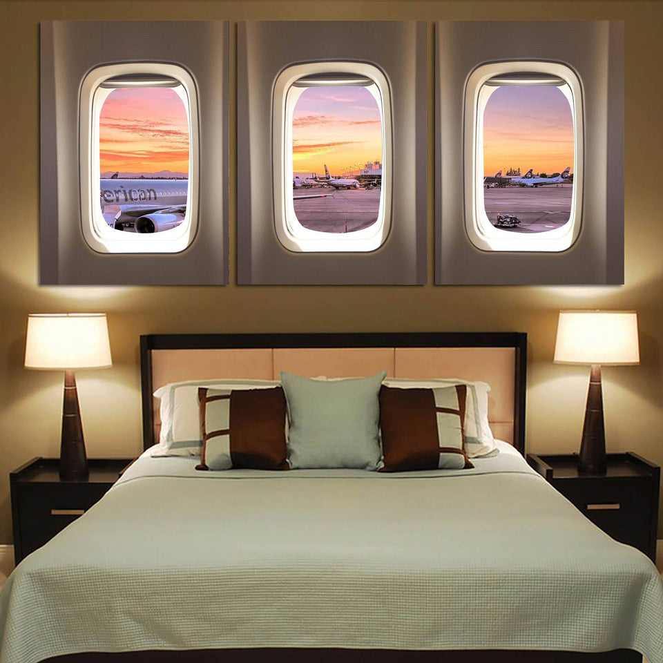 Airport View Through Passanger Windows Printed Canvas Posters (3 Pieces) Aviation Shop