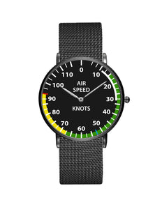 Airplane Instrument Series (Airspeed) Stainless Steel Strap Watches Pilot Eyes Store Black & Stainless Steel Strap