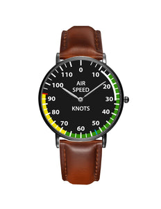 Airplane Instrument Series (Airspeed) Leather Strap Watches Pilot Eyes Store Silver & Black Nylon Strap
