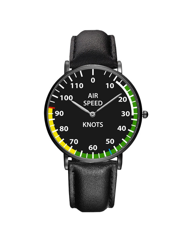 Airplane Instrument Series (Airspeed) Leather Strap Watches Pilot Eyes Store Black & Black Leather Strap