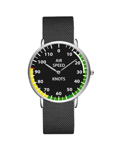 Airplane Instrument Series (Airspeed) Stainless Steel Strap Watches Pilot Eyes Store Silver & Silver Stainless Steel Strap
