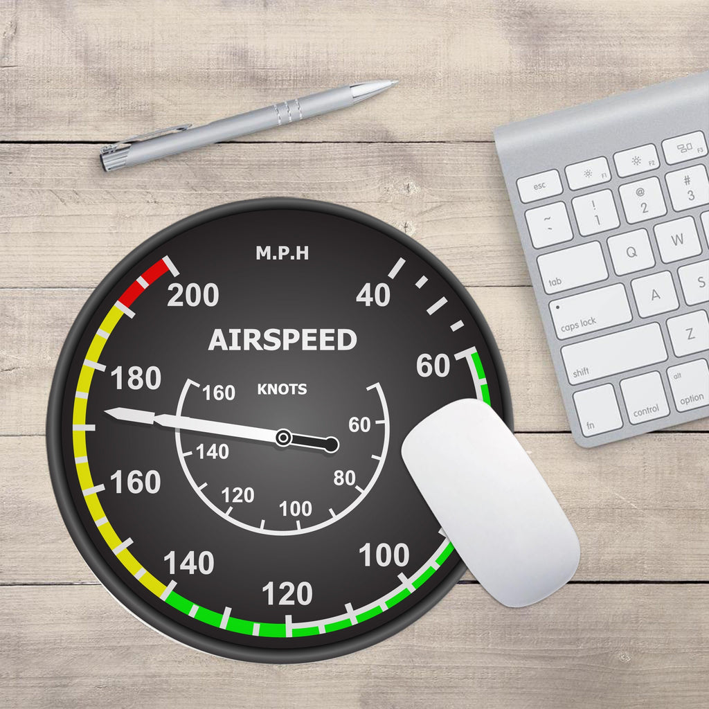 "Airplane Instrument Series ""Airspeed 2"" Designed Mouse Pads"