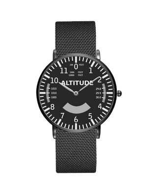 Airplane Instrument Series (Altitude) Stainless Steel Strap Watches Pilot Eyes Store Black & Stainless Steel Strap