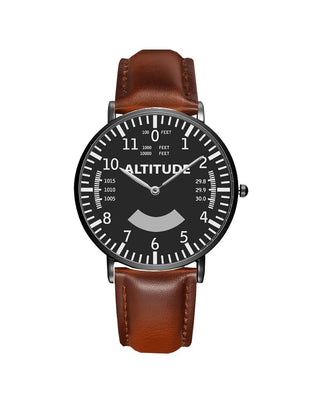 Airplane Instrument Series (Altitude) Leather Strap Watches Pilot Eyes Store Black & Black Leather Strap