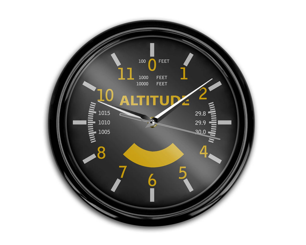 Airplane Instruments (Altitude-Color) Designed Wall Clocks Aviation Shop
