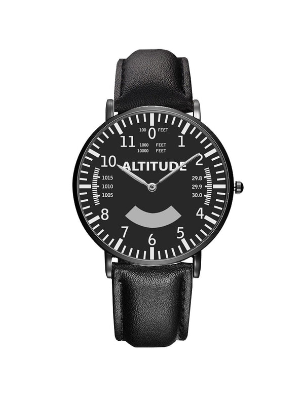 Airplane Instrument Series (Altitude) Leather Strap Watches Pilot Eyes Store Silver & Black Nylon Strap