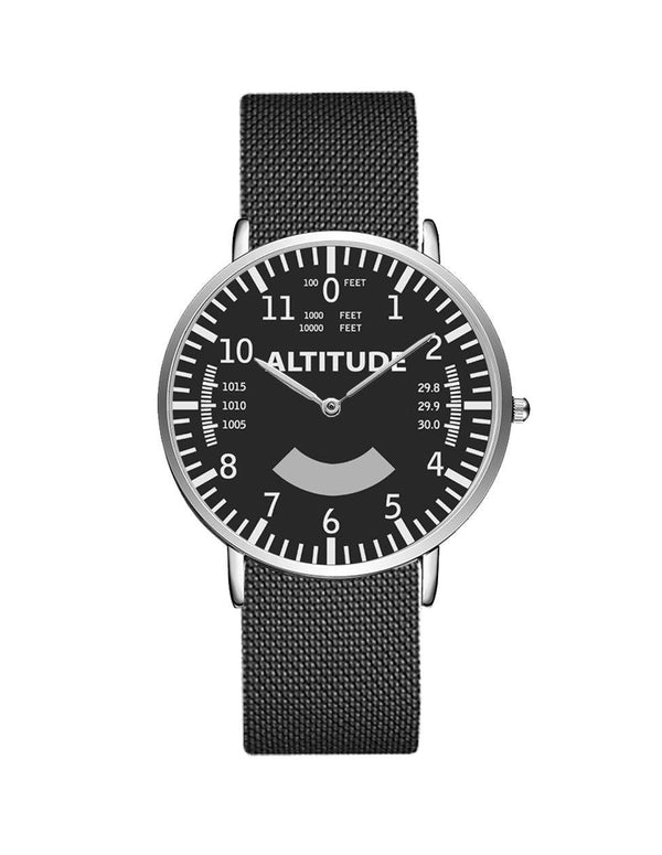 Airplane Instrument Series (Altitude) Stainless Steel Strap Watches Pilot Eyes Store Silver & Silver Stainless Steel Strap