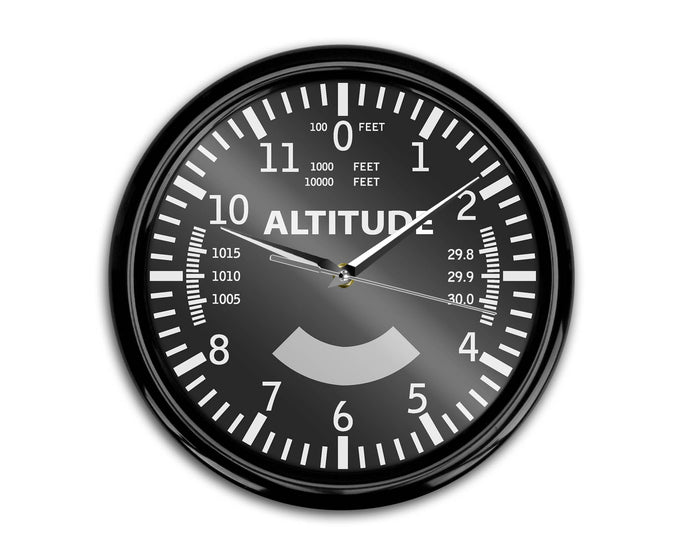 Airplane Instruments (Altitude) Designed Wall Clocks Aviation Shop