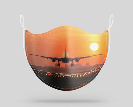 Amazing Airbus A330 Landing at Sunset Designed Face Masks