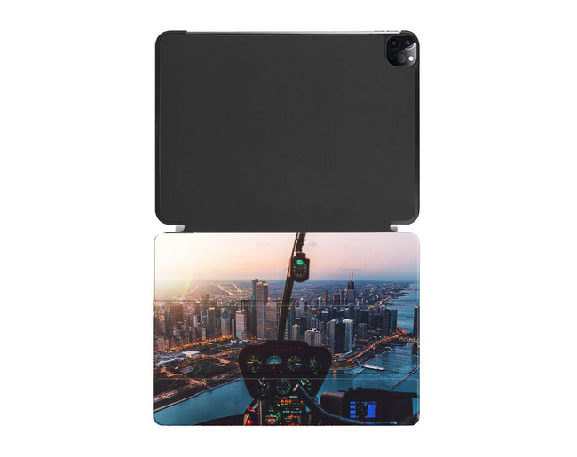 Amazing City View from Helicopter Cockpit Printed iPad Cases