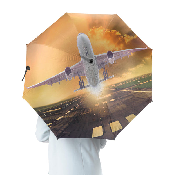 Amazing Departing Aircraft Sunset & Clouds Behind Designed Umbrella