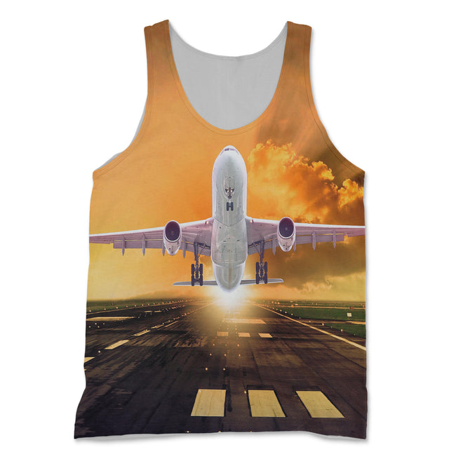 Amazing Departing Aircraft Sunset & Clouds Behind Designed 3D Tank Tops