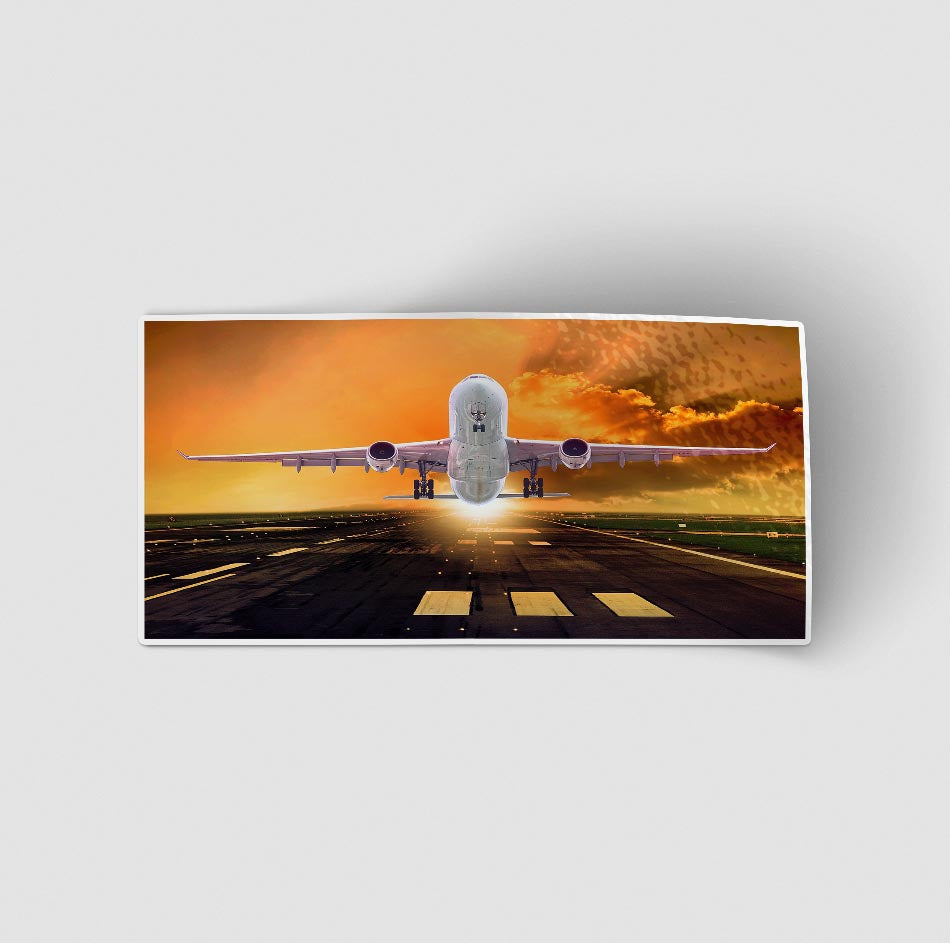Amazing Departing Aircraft Sunset & Clouds Behind Designed Stickers