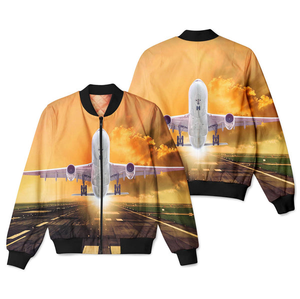 Amazing Departing Aircraft Sunset & Clouds Behind Designed 3D Pilot Bomber Jackets