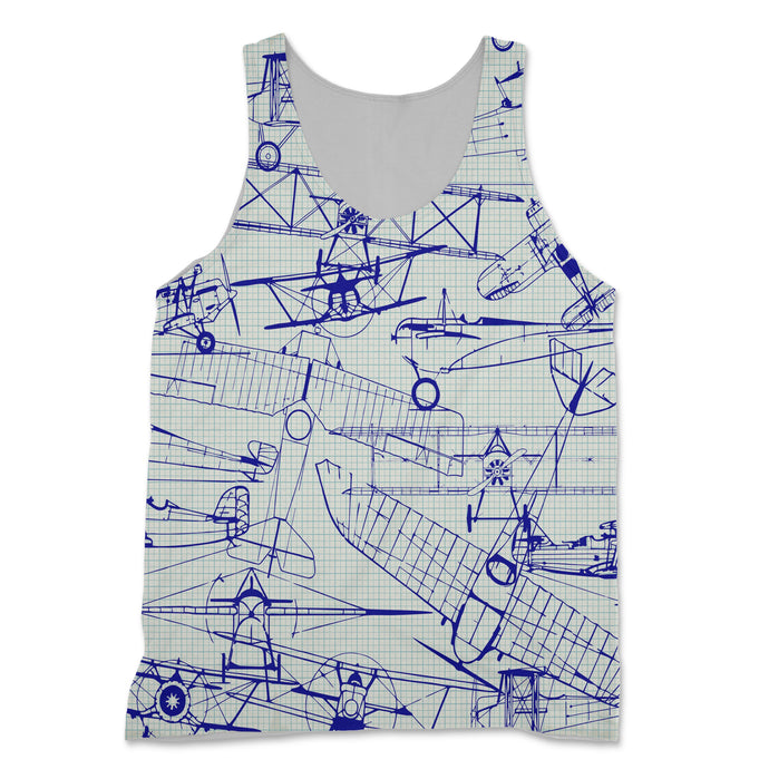 Amazing Drawings of Old Aircrafts Designed 3D Tank Tops