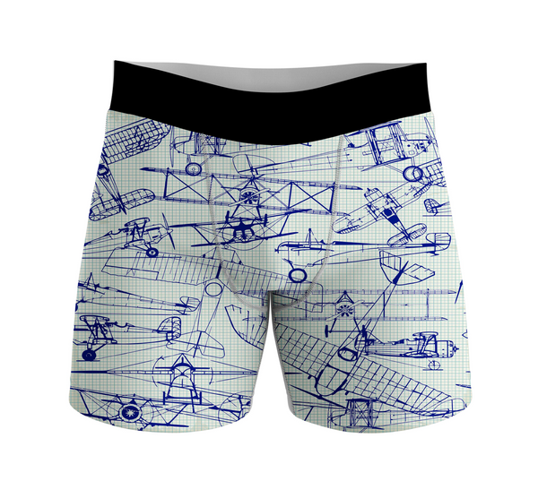 Amazing Drawings of Old Aircrafts Designed Men Boxers