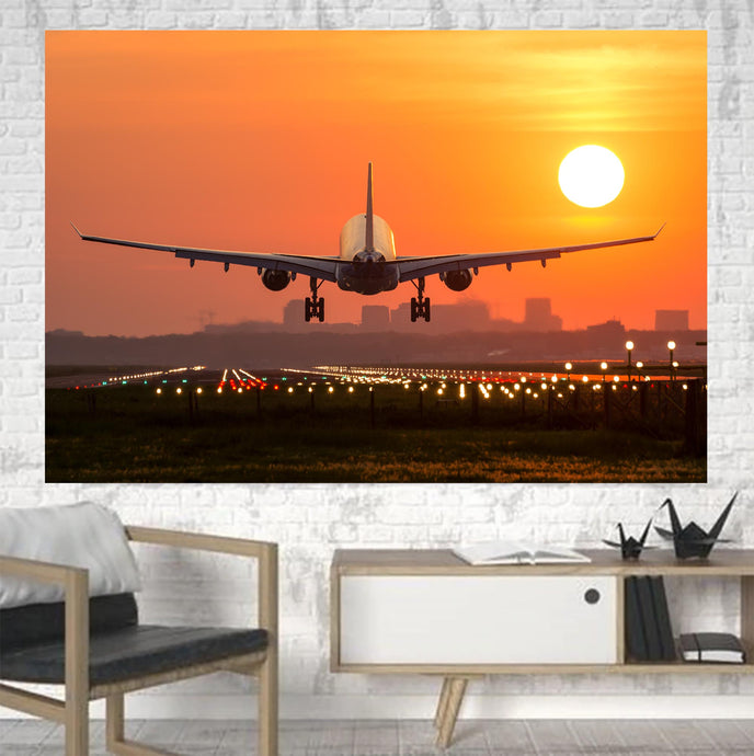 Amazing Airbus A330 Landing at Sunset Printed Canvas Posters (1 Piece)