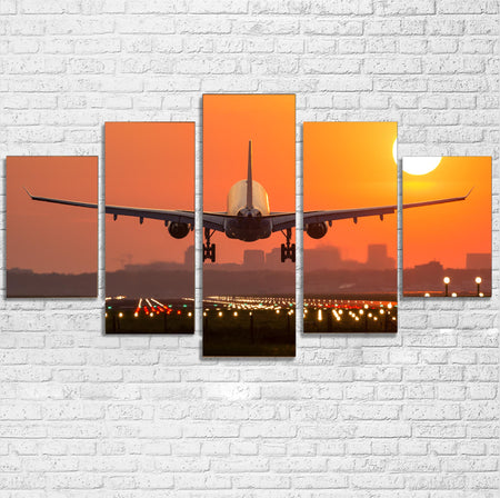 Amazing Airbus A330 Landing at Sunset Multiple Canvas Poster