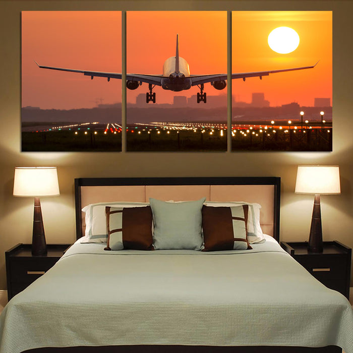 Amazing Airbus A330 Landing at Sunset Printed Canvas Posters (3 Pieces)