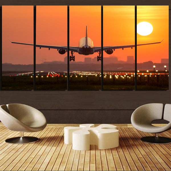 Amazing Airbus A330 Landing at Sunset Canvas Prints (5 Pieces)