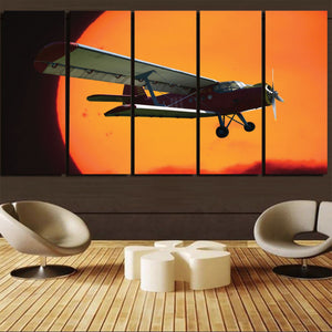 Amazing Antonov-2 With Sunset Printed Canvas Prints (5 Pieces) Aviation Shop