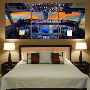 Amazing Boeing 737 Cockpit Printed Canvas Posters (3 Pieces) Aviation Shop