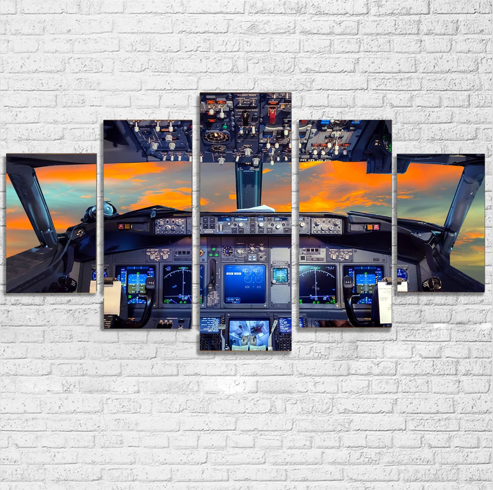 Amazing Boeing 737 Cockpit Printed Multiple Canvas Poster Aviation Shop