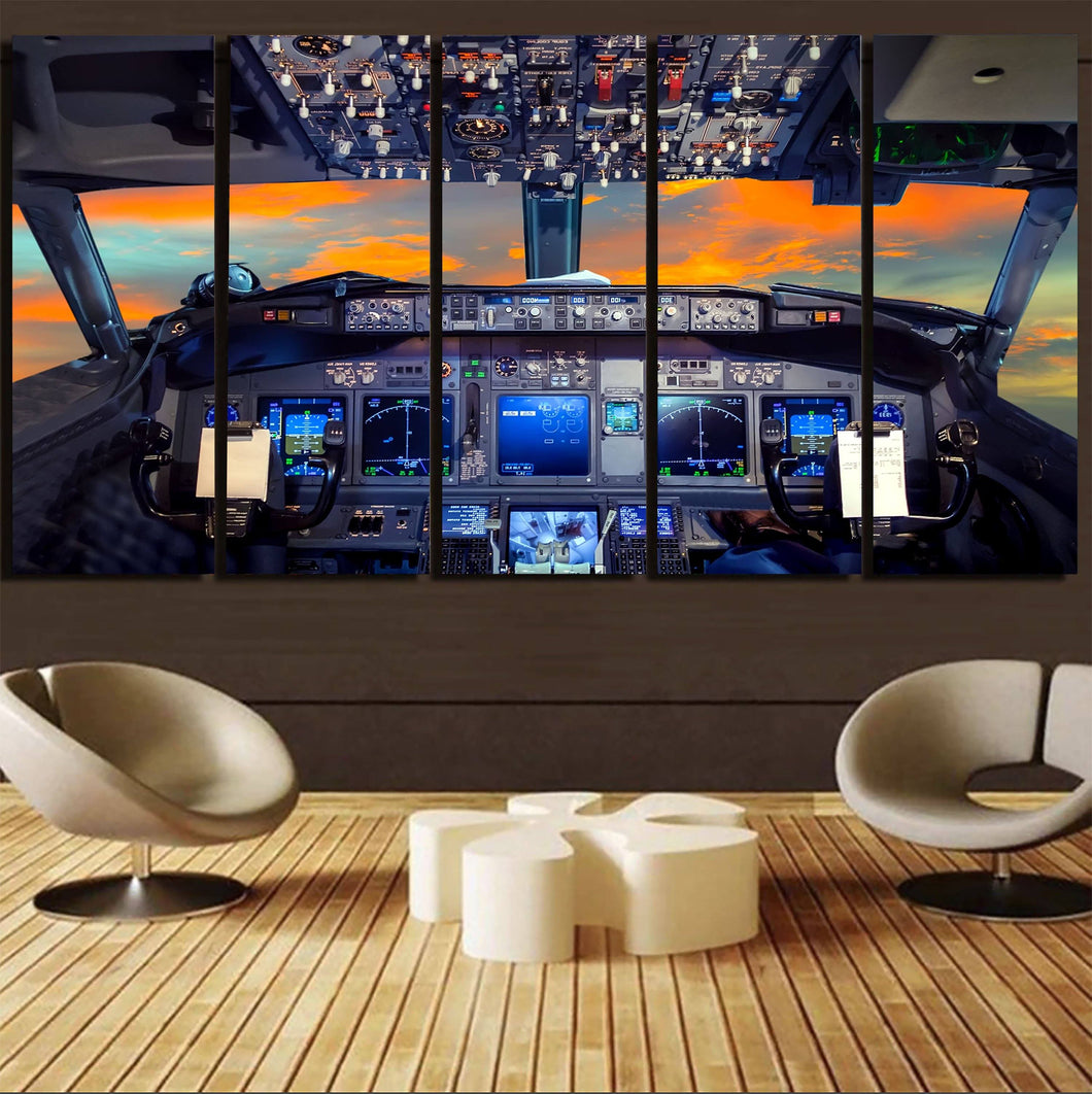 Amazing Boeing 737 Cockpit Printed Canvas Prints (5 Pieces) Aviation Shop