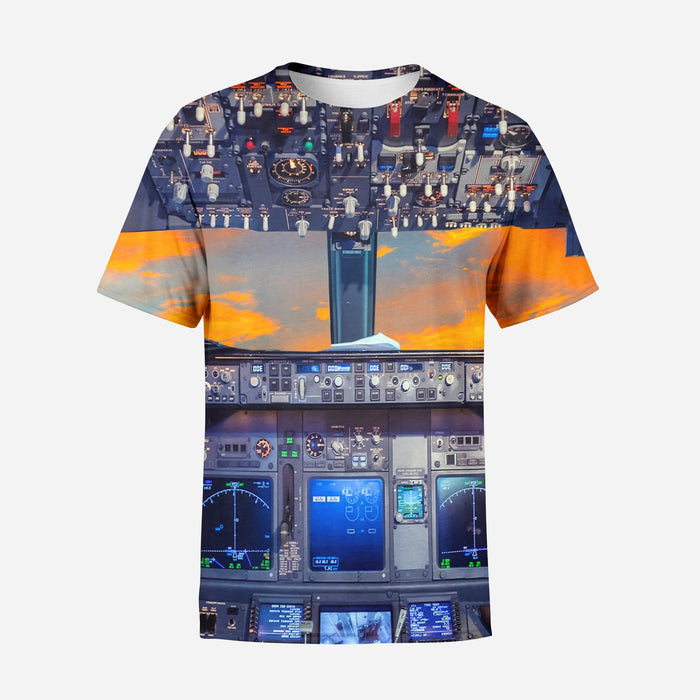 Amazing Boeing 737 Cockpit Printed T-Shirts