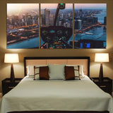 Amazing City View from Helicopter Cockpit Printed Canvas Posters (3 Pieces) Aviation Shop