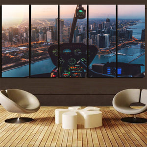 Amazing City View from Helicopter Cockpit Printed Canvas Prints (5 Pieces) Aviation Shop