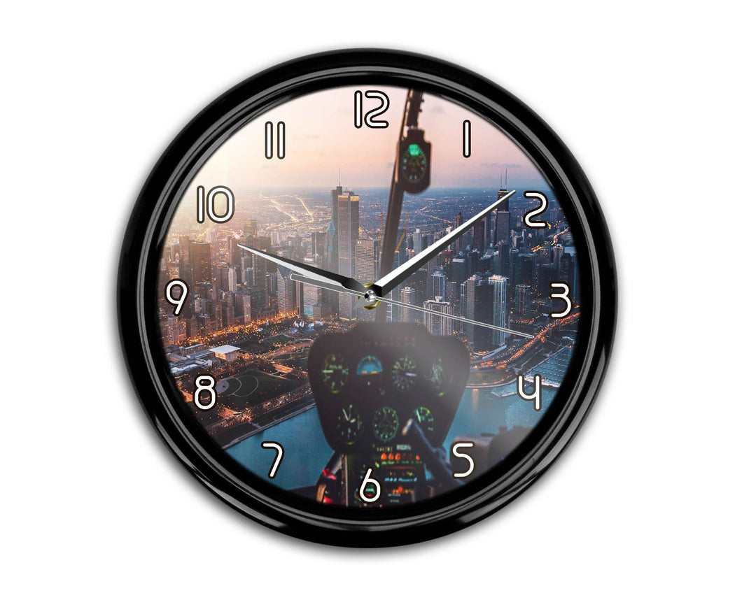 Amazing City View from Helicopter Cockpit Printed Wall Clocks Aviation Shop