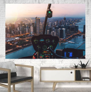 Amazing City View from Helicopter Cockpit Printed Canvas Posters (1 Piece) Aviation Shop