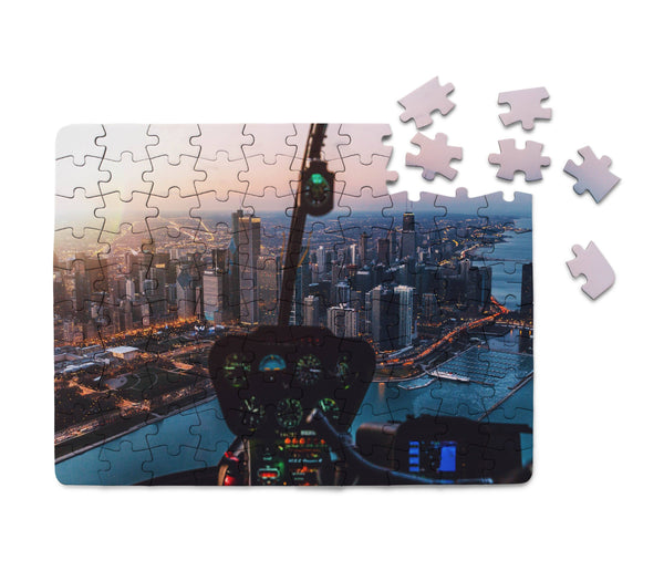 Amazing City View from Helicopter Cockpit Printed Puzzles Aviation Shop